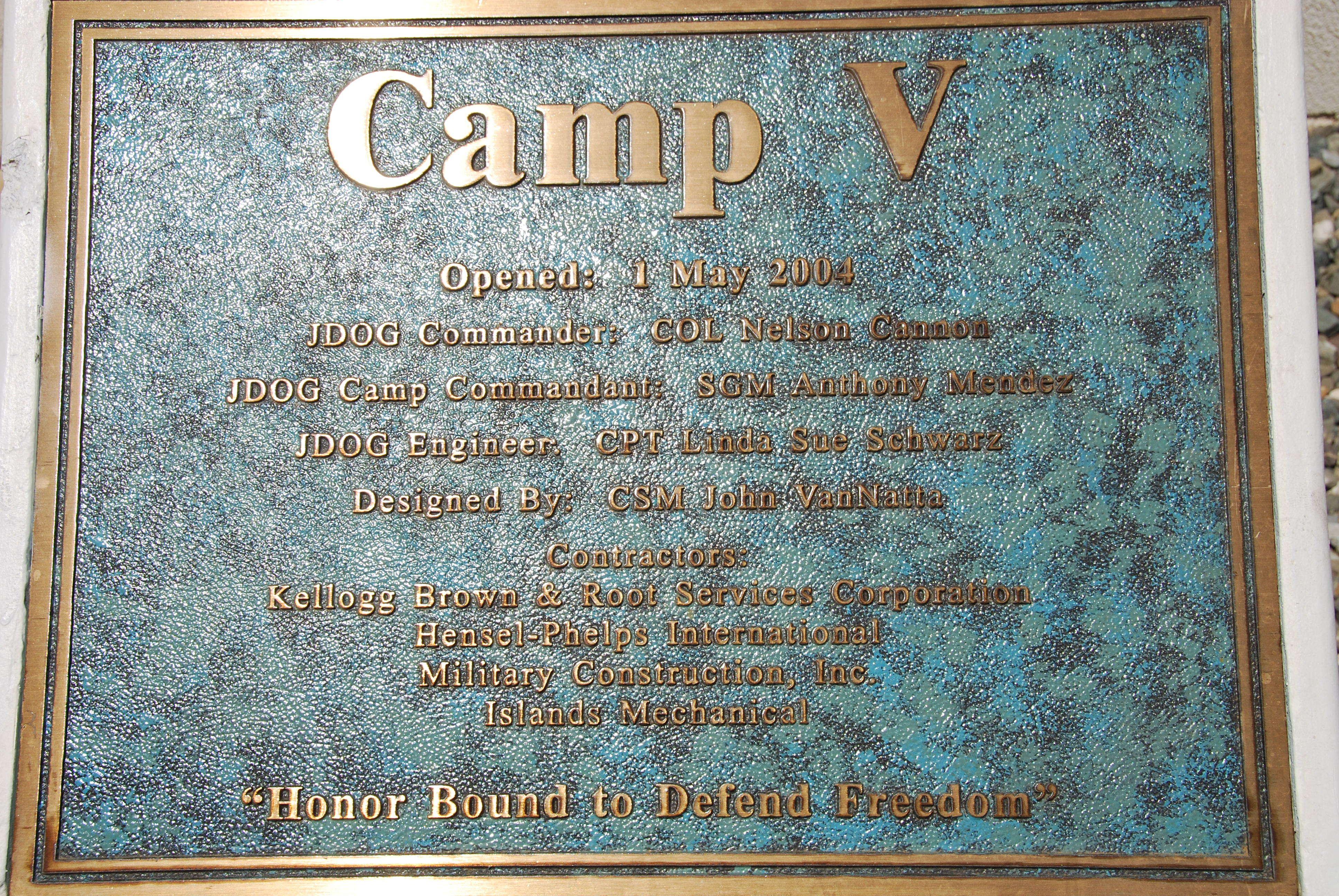 File:Kellogg, Brown and Root construction plaque, Camp 5 ...