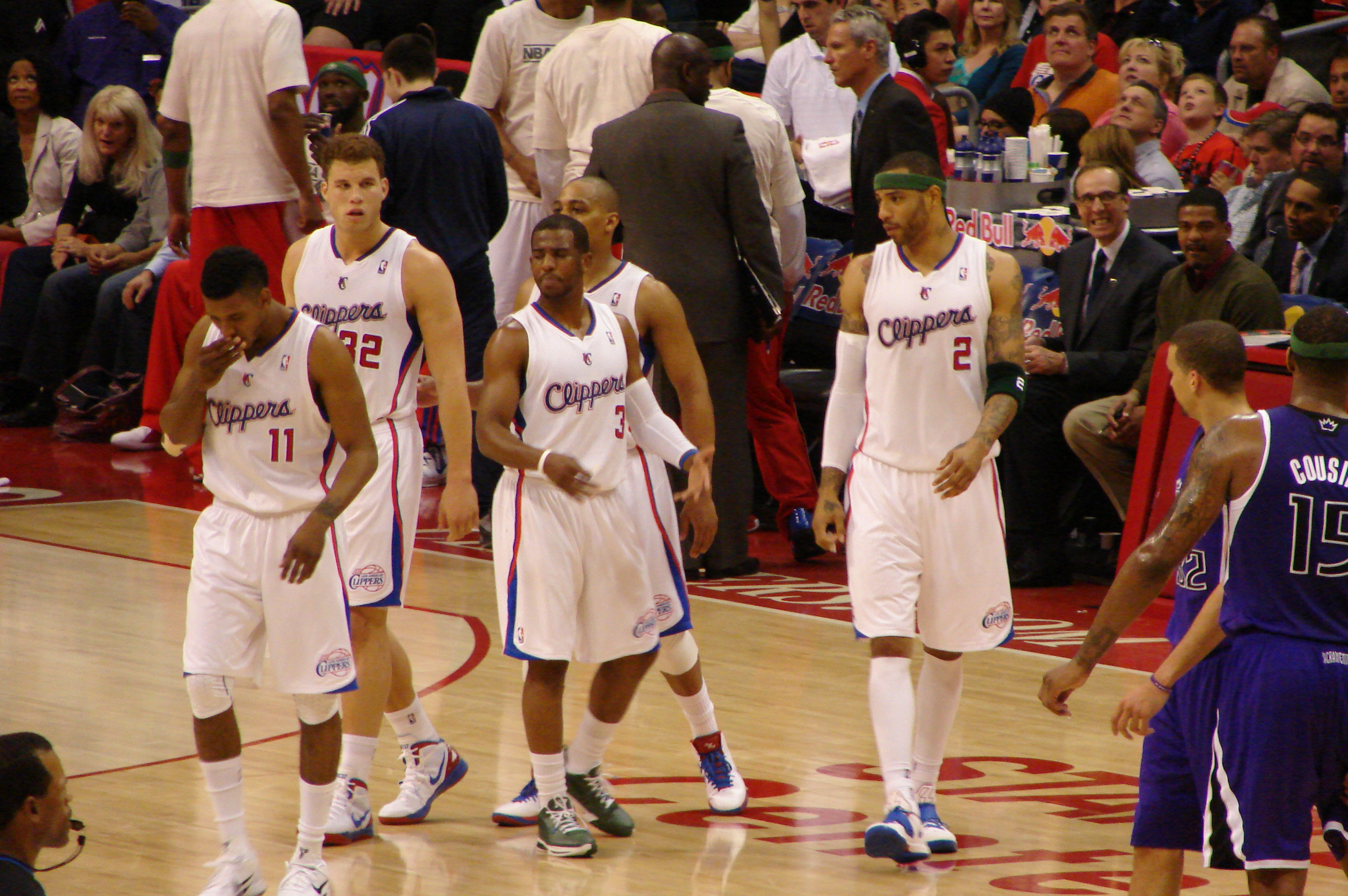 Description LA Clippers players on the floor vs Kings.jpg