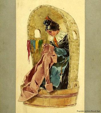 Adolf Hohenstein, bozzetto del costume di una rappezzatrice per la prima rappresentazione della Bohème
