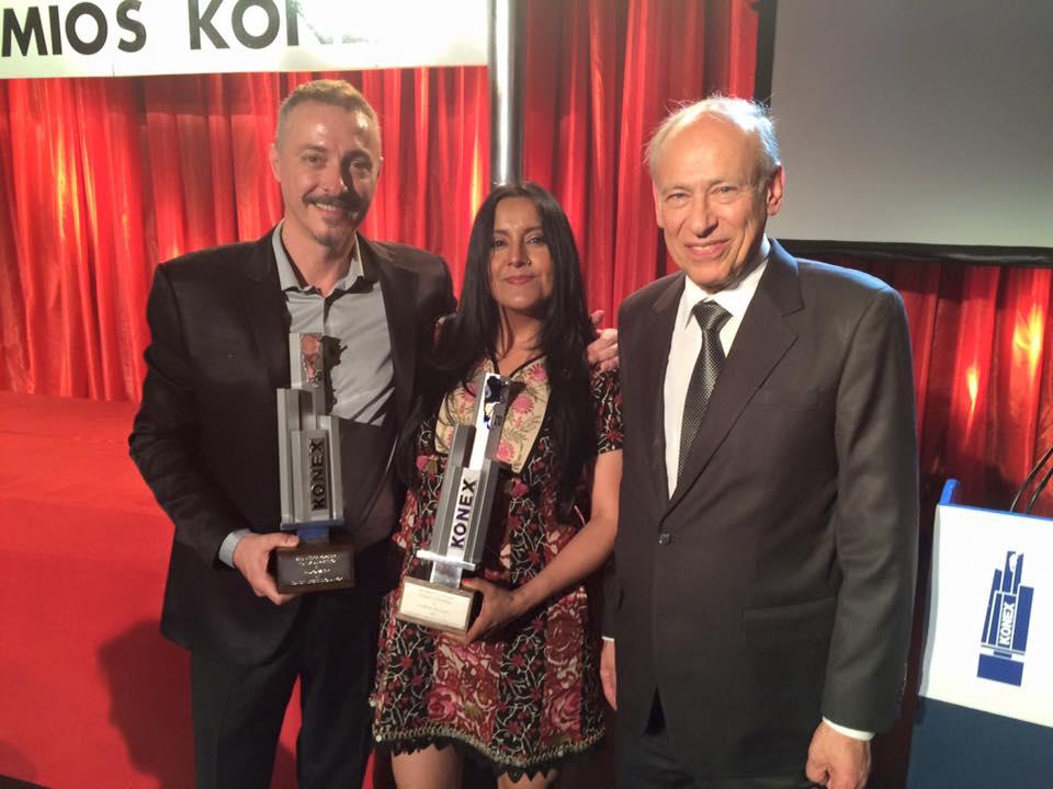 La Bruja Salguero junto a Pedro Aznar y Luis Ovsejevich recibiendo el Premio Konex de Platino 2015 como Mejor Cantante de Folklore de la Década. Premio que recibieron Mercedes Sosa 1985, 1995 y Liliana Herrero 2005.