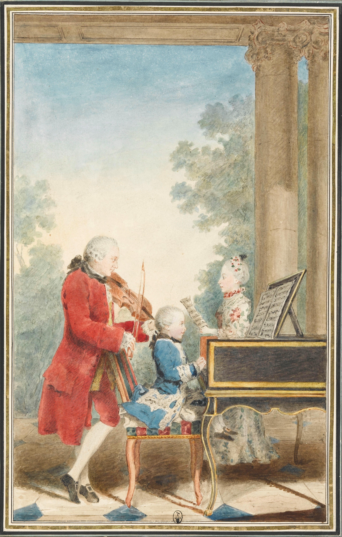 La familia Mozart durante su viaje: Leopold interpretando el violín; Wolfgang Amadeus al clavecín y Nannerl, cantando. Acuarela de Louis Carrogis Carmontelle hacia 1763.