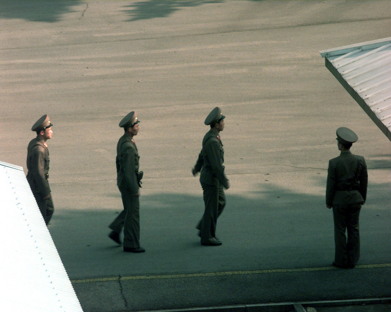 File North Korean People S Army Soldiers Stand Guard At