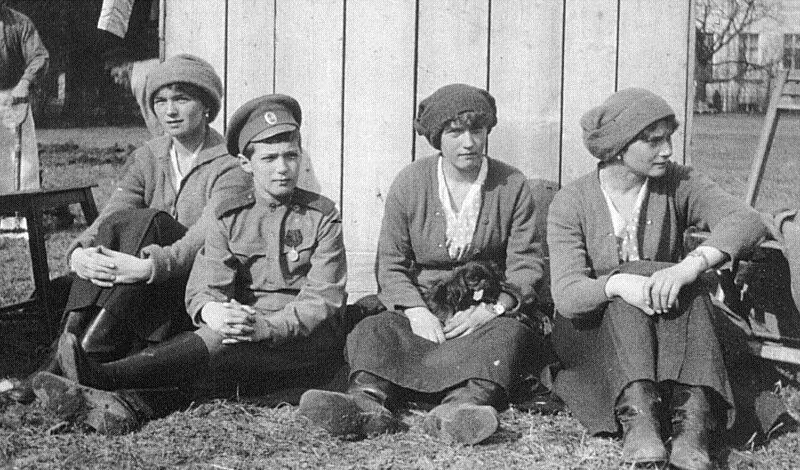 File:Olga, Alexei, Anastasia, Tatiana in captivity at Tsarskoe Selo.jpg