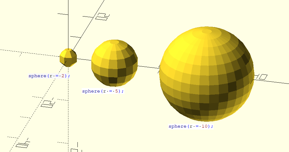Sample OpenSCAD spheres, showing clearly the difference in scale.