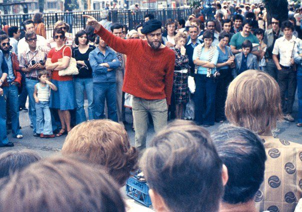 Orator at Speakers Corner, London, with crowd, 1974