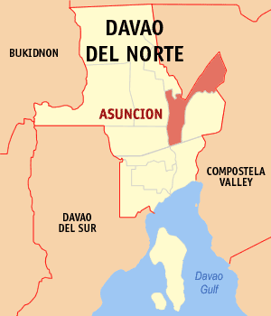 Map of Davao del Norte showing the location of Asuncion