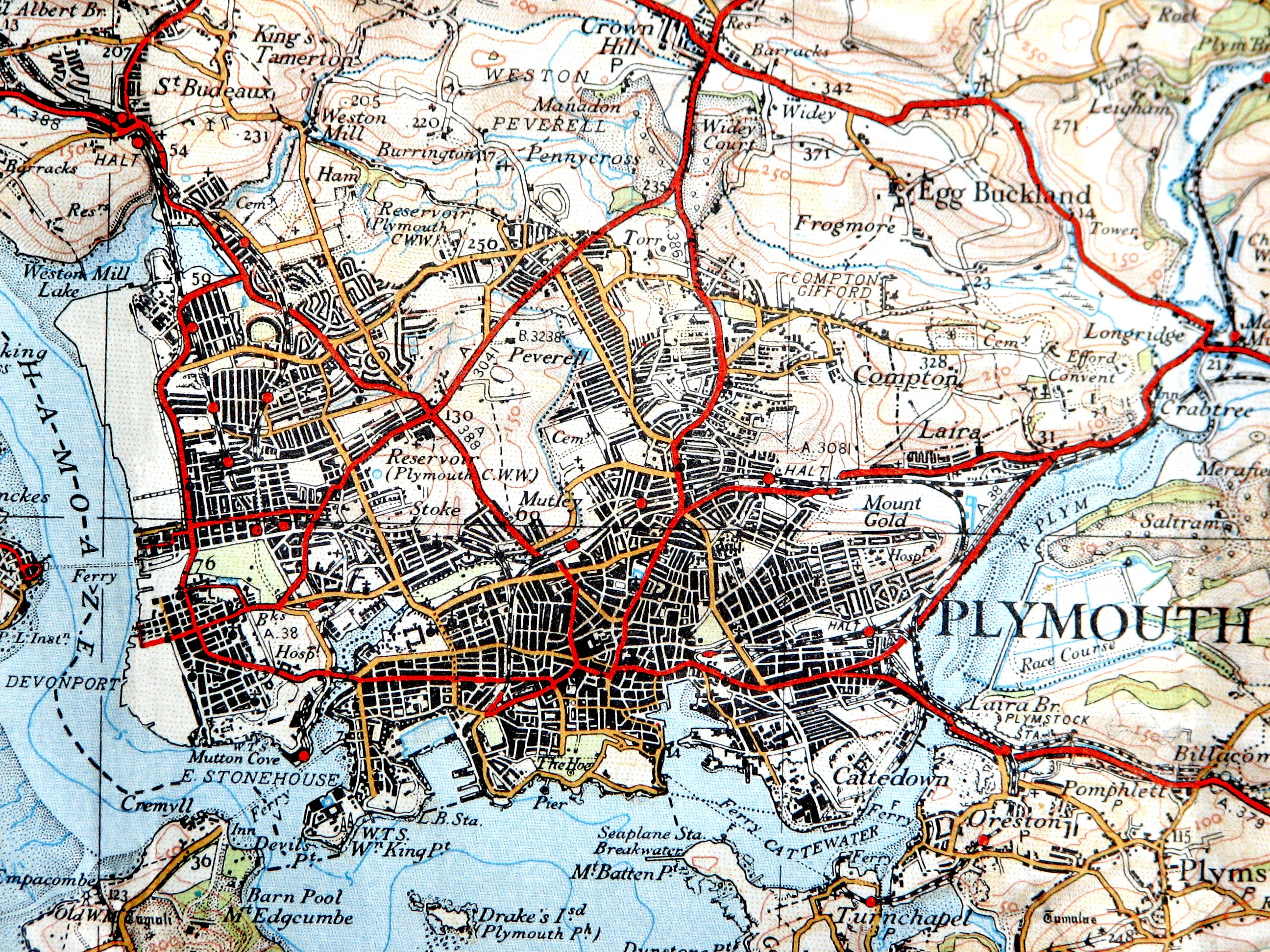 Map Of England Plymouth.File Plymouth Os 1 Inch 1936 Jpg Wikimedia Commons