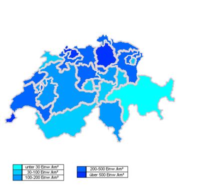 Switzerland Density Map - Population density in switzerland 2015