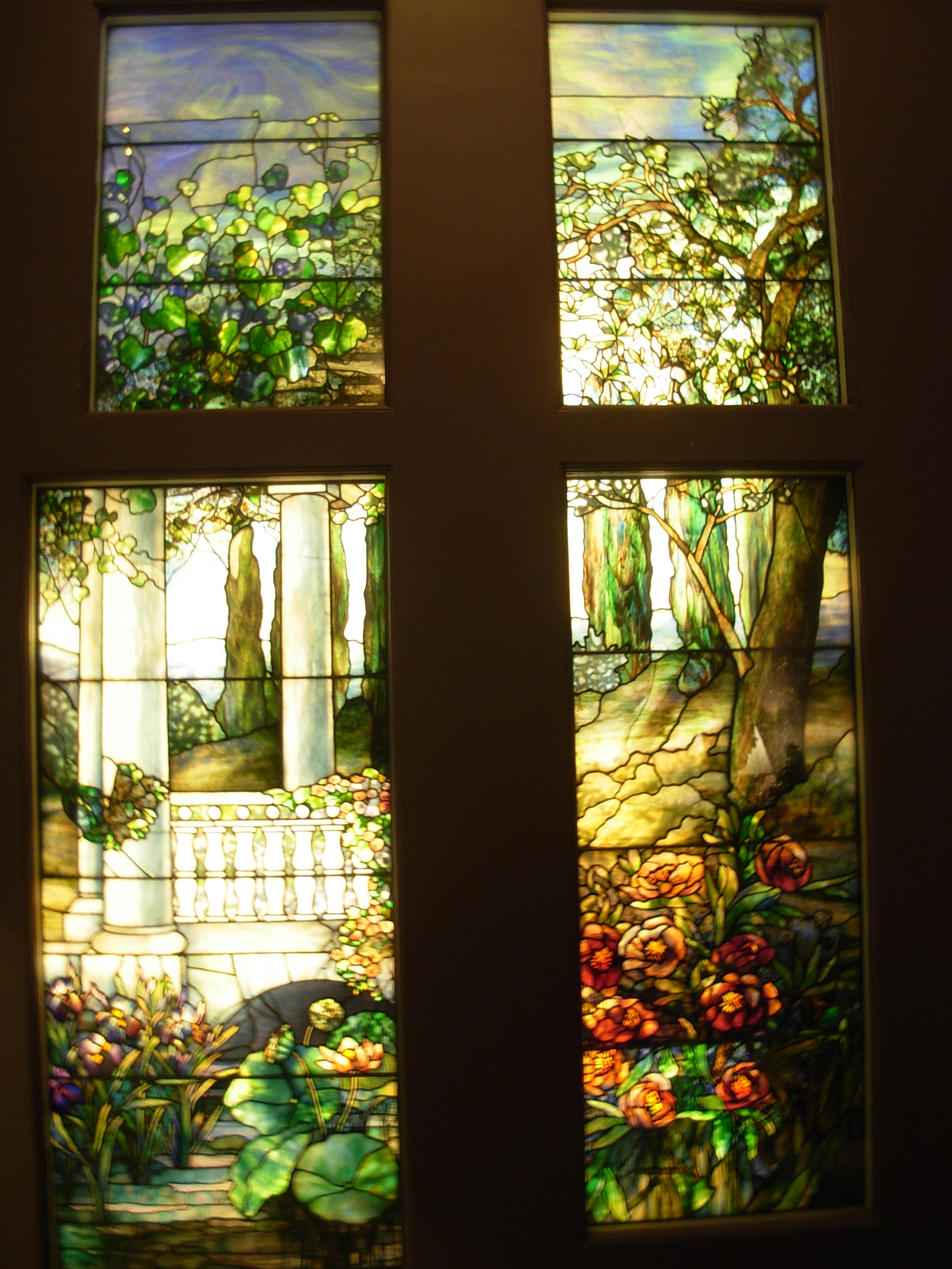 Tiffany-style Wood Frame Stained Glass Window Panel | Overstock.com