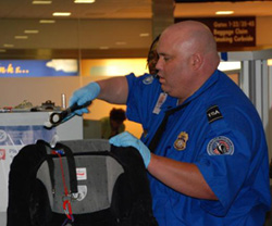 A TSA officer screens a piece of luggage.