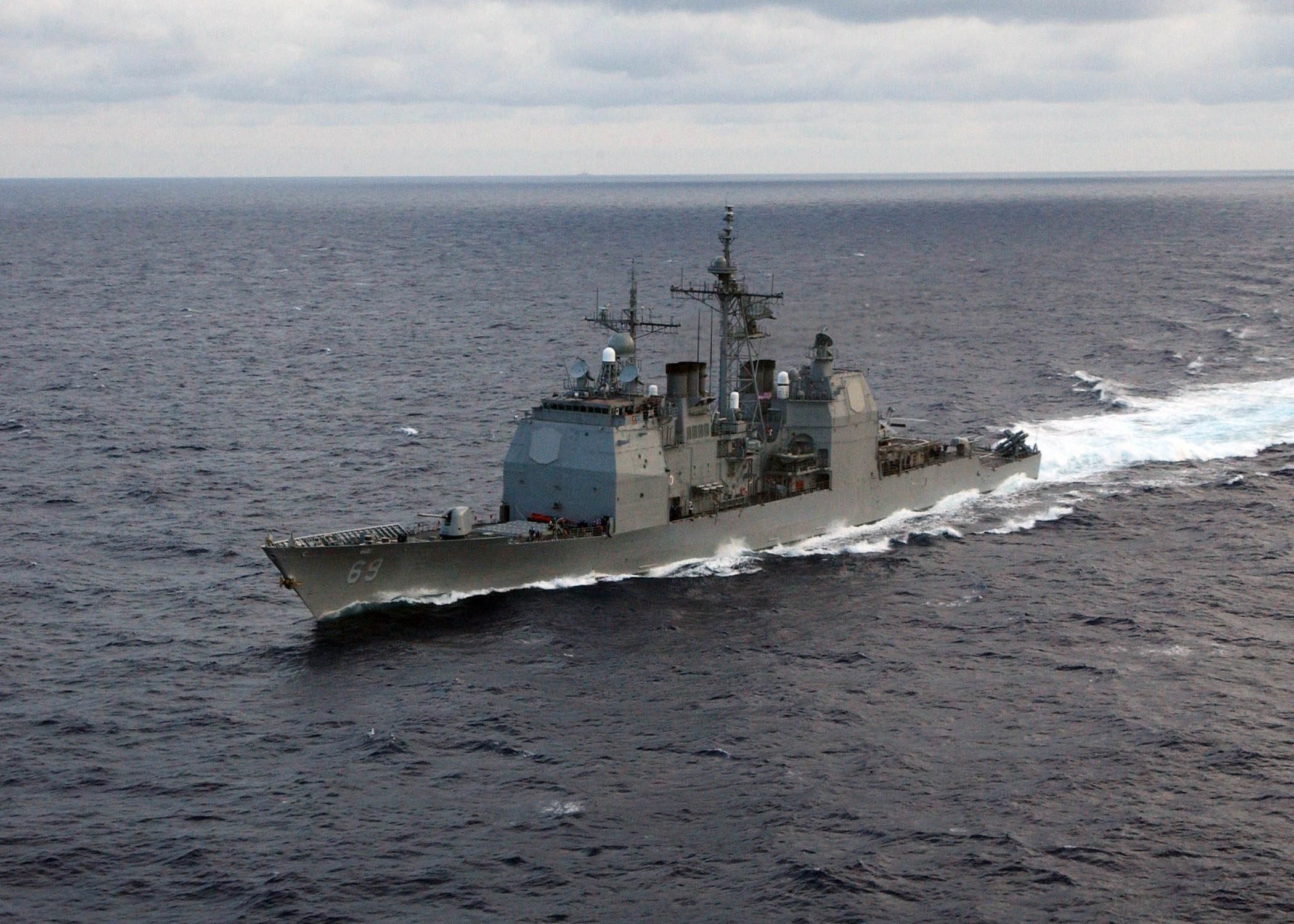 USS Vicksburg in the Atlantic Ocean