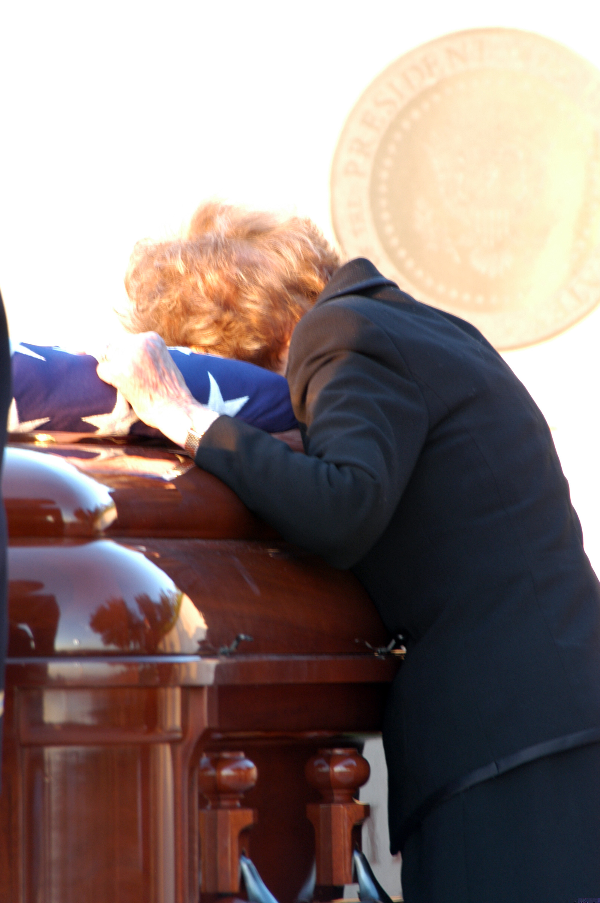 nancy reagan at her husband's casket