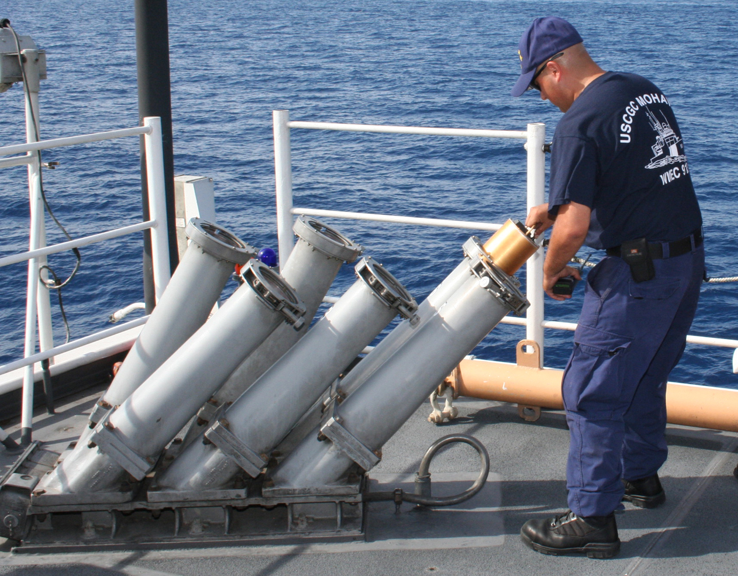 US_Navy_090915-N-1938G-019_U.S._Coast_Guard_Gunner%27s_Mate_3rd_Class_Antonio_Seisdedos%2C_aboard_the_USCGC_Mohawk_%28WMEC_913%29_check_the_Mark_36_Super_Rapid_Bloom_Off-board_Chaff_%28SRBOC%29_for_correct_voltage_before_firing.jpg