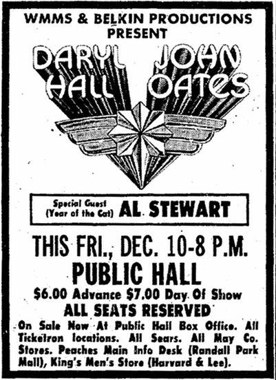 Print ad for Belkin Productions, Cleveland Public Hall, WMMS Radio in The Plain Dealer newspaper on December 5, 1976 WMMS Presents Hall & Oates - 1976 print ad.jpg