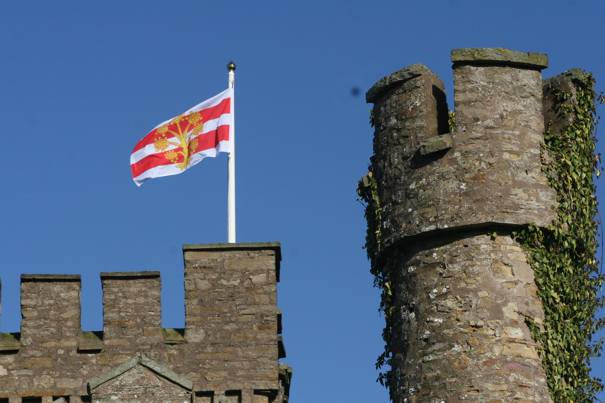 The Flag Of Westmorland Flying At Augill Castle In Kirkby Stephen