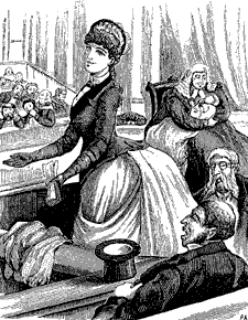 Australian women's rights were lampooned in this 1887 Melbourne Punch cartoon: A hypothetical female member foists her baby's care on the House Speaker. South Australian women were to achieve the vote in 1895. Women suffrage cartoon.png