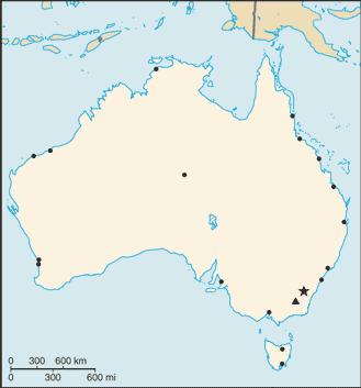 Ausztrália elhelyezkedése