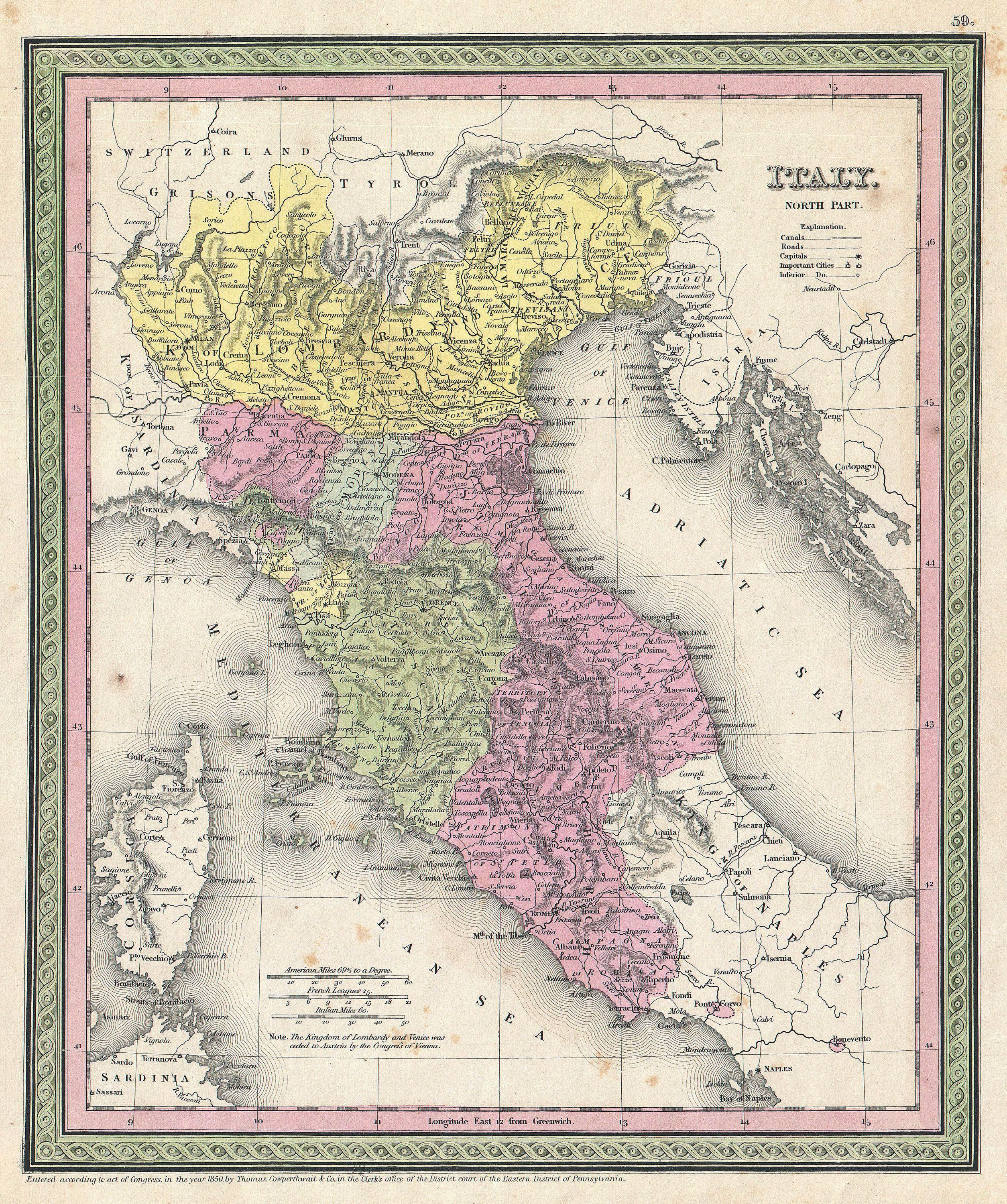 Mitchell Map Of Northern Italy Tuscany Venice Geographicus Italynorth Mitchell