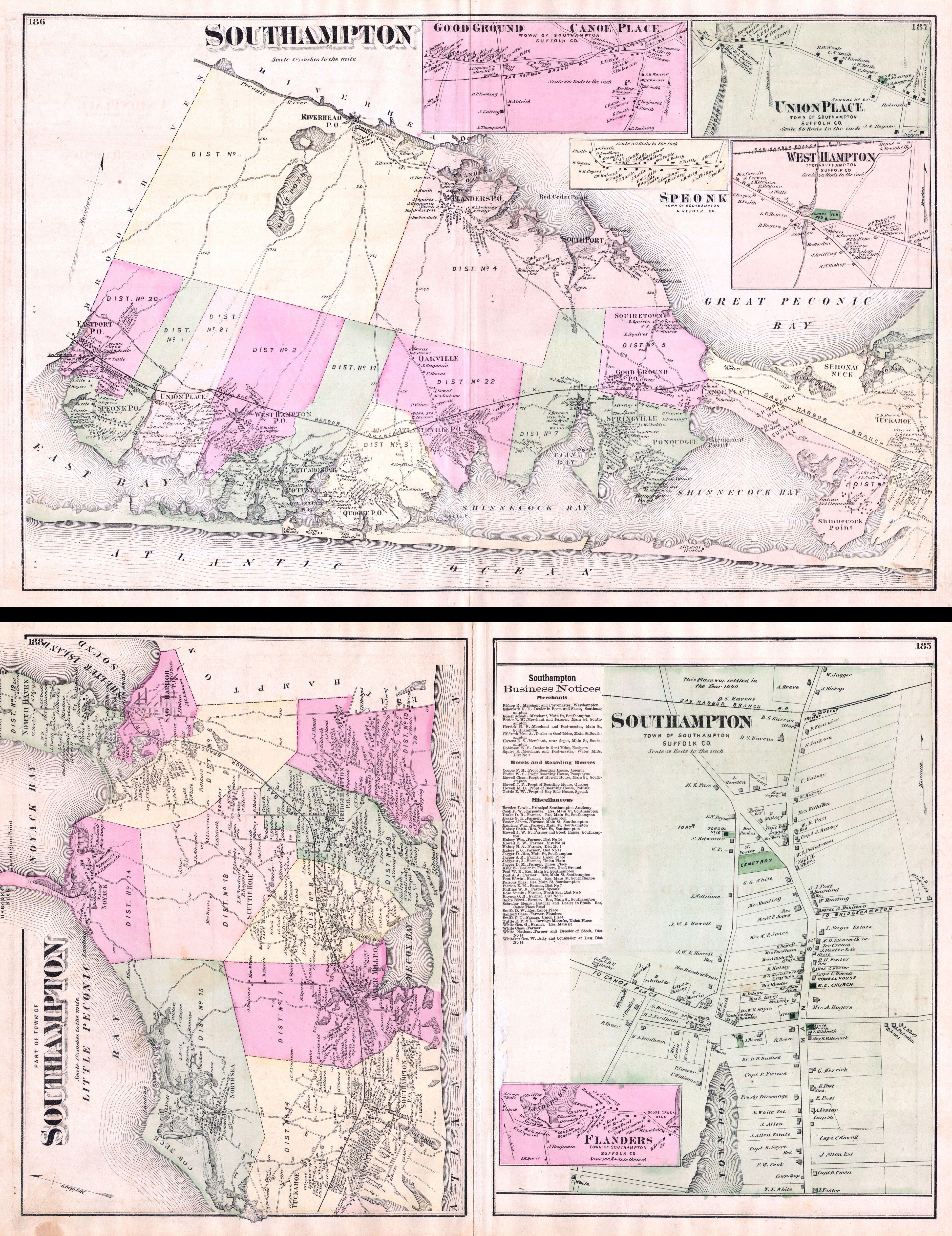 Map Of Quogue New York.File 1873 Beers Map Of Southampton Bridgeampton And Sag Harbor