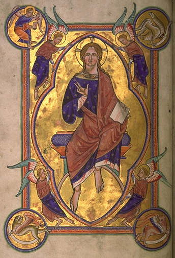 Christ in Majesty, still with no beard, from an English 12th-century illuminated manuscript. AberdeenBestiaryFolio004vChristInMajesty (cropped).jpg