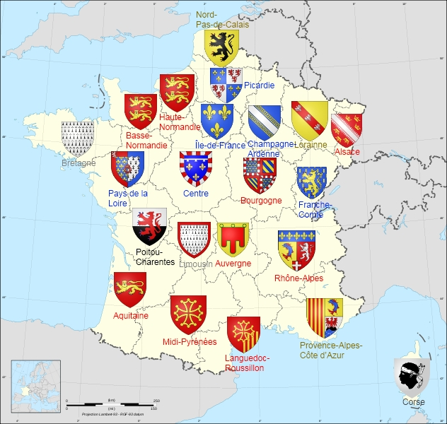 Map o mainland France's regions an thair respective historical an military flags.