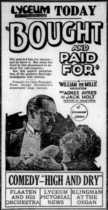 A newspaper ad for Bought and Paid For with Jack Holt and Agnes Ayres