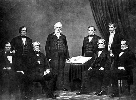 President Buchanan and his Cabinet From left to right: Jacob Thompson, Lewis Cass, John B. Floyd, James Buchanan, Howell Cobb, Isaac Toucey, Joseph Holt and Jeremiah S. Black, (c. 1859) Buchanan Cabinet.jpg