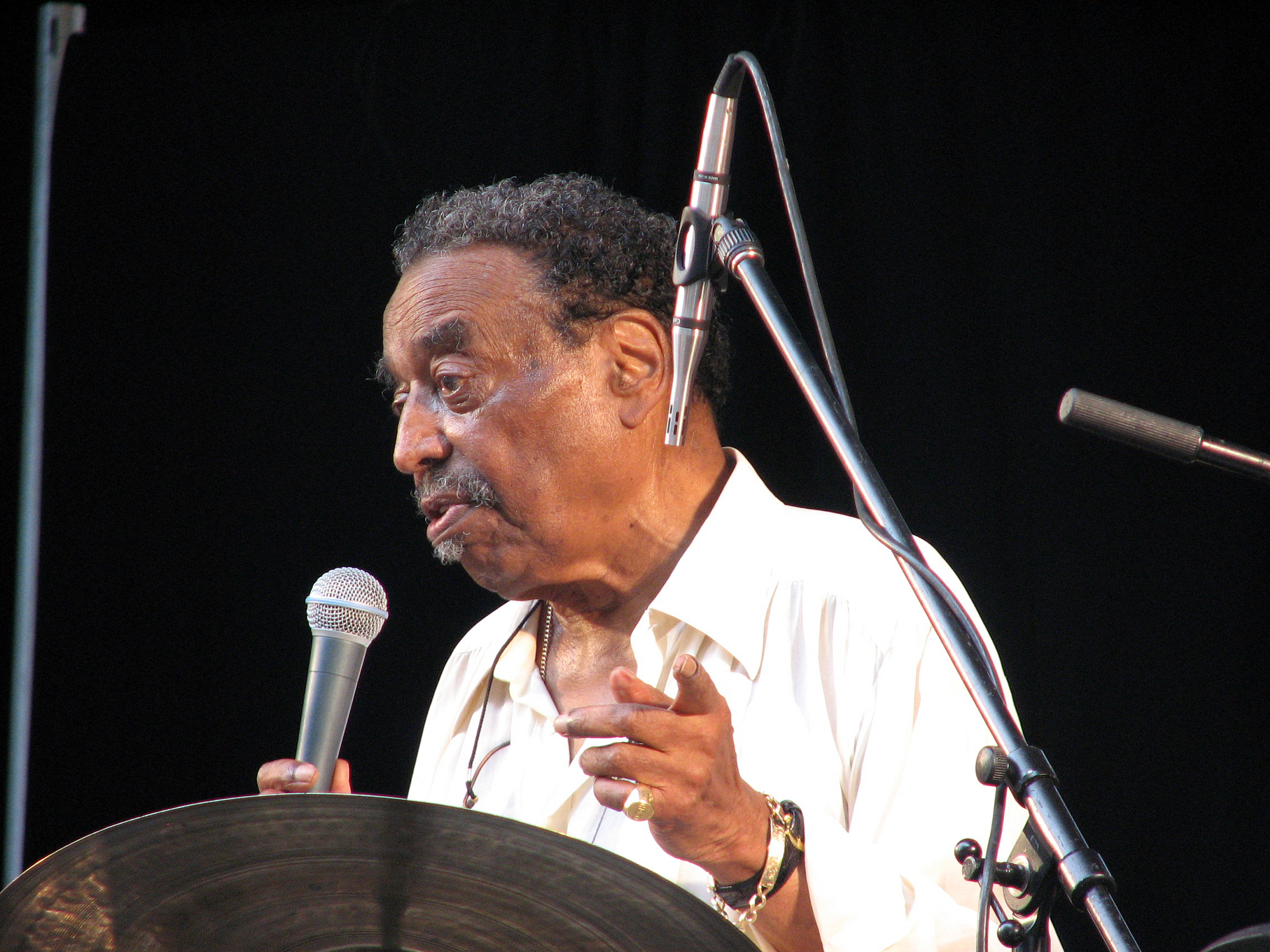 Chico Hamilton appearing at the Charlie Parker Jazz Festival in Tompkins Square Park, New York City, August 26, 2007