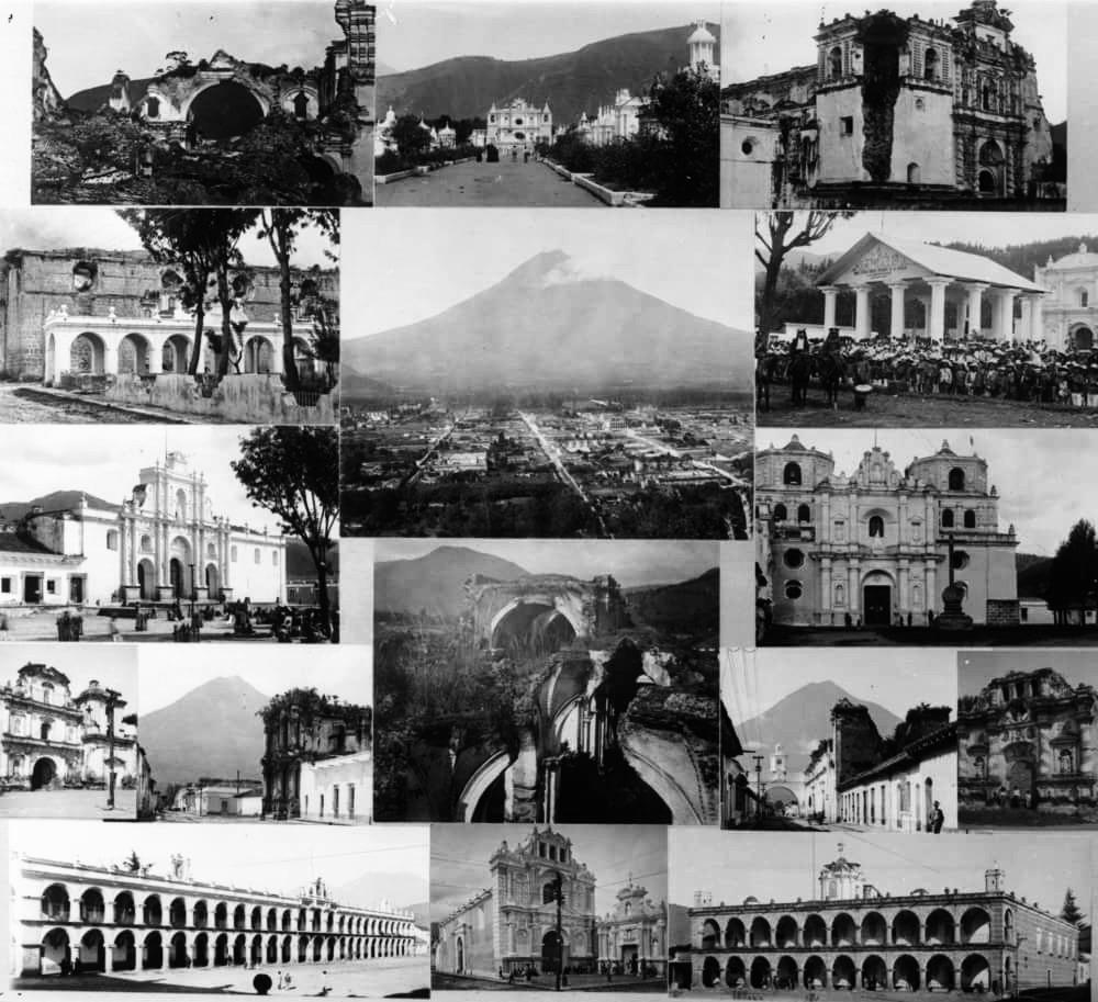 Collage de fotografías de las ruinas de Antigua Guatemala. Juan José Yas. Wikimedia Commons.
