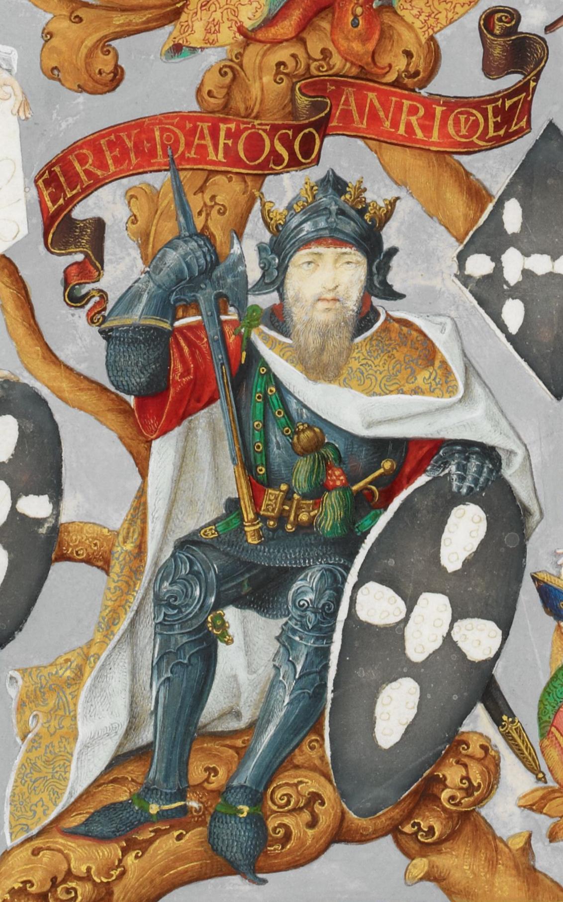 Miniatura del siglo XVI que representa al rey Alfonso I de Portugal.