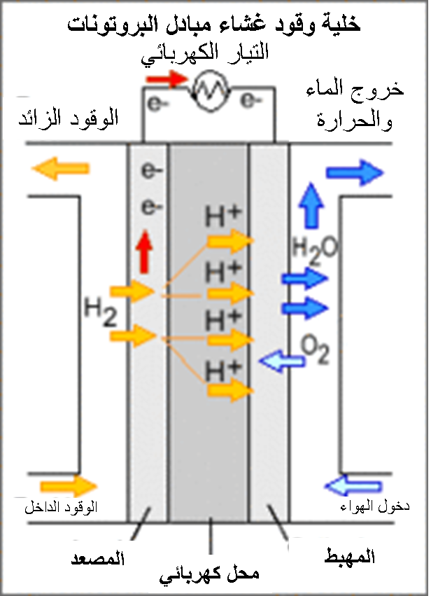 Hydrogen Fuel Cell Wikipedia >> File:Diagram of PEM Fuel CEll (Arabic).png - Wikimedia Commons