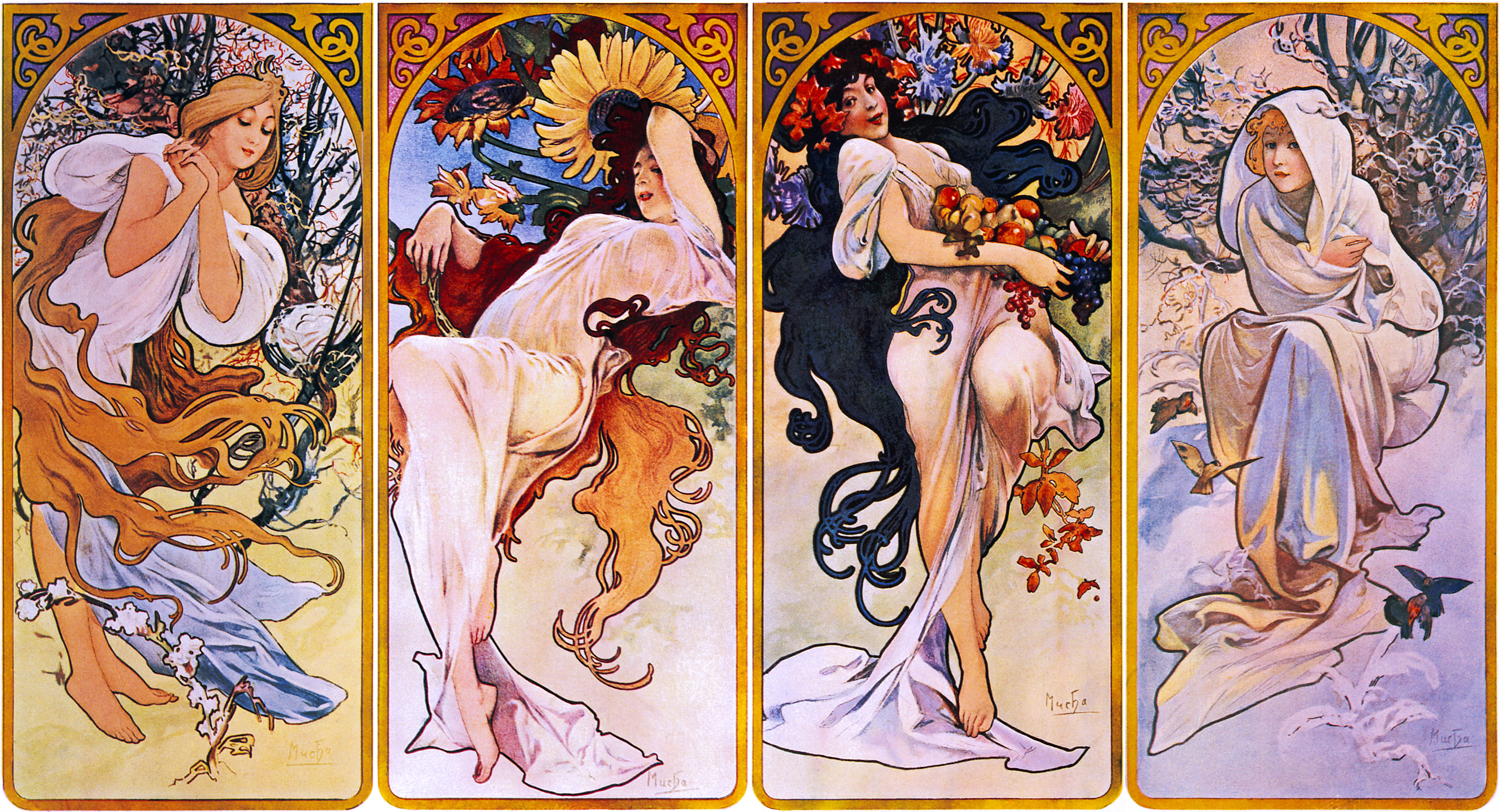 Archivo:Four Seasons by Alfons Mucha, circa 1897.jpg - Wikipedia ...