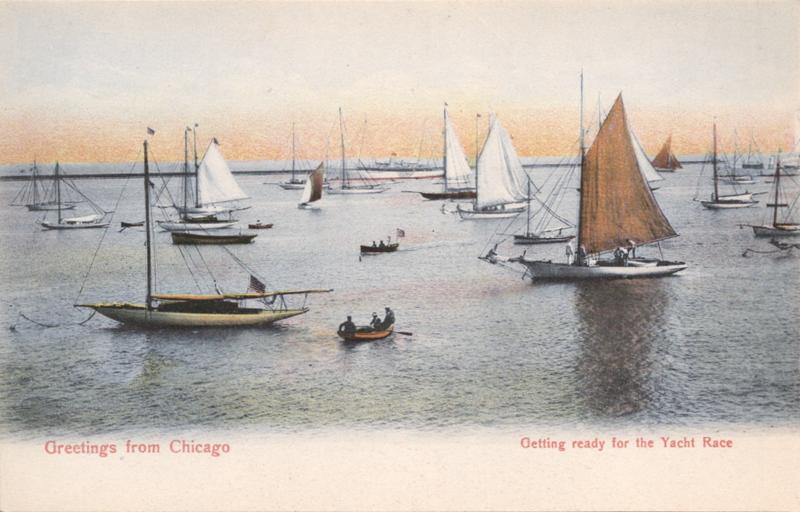 English: Matte color postcard of sailboats moo...