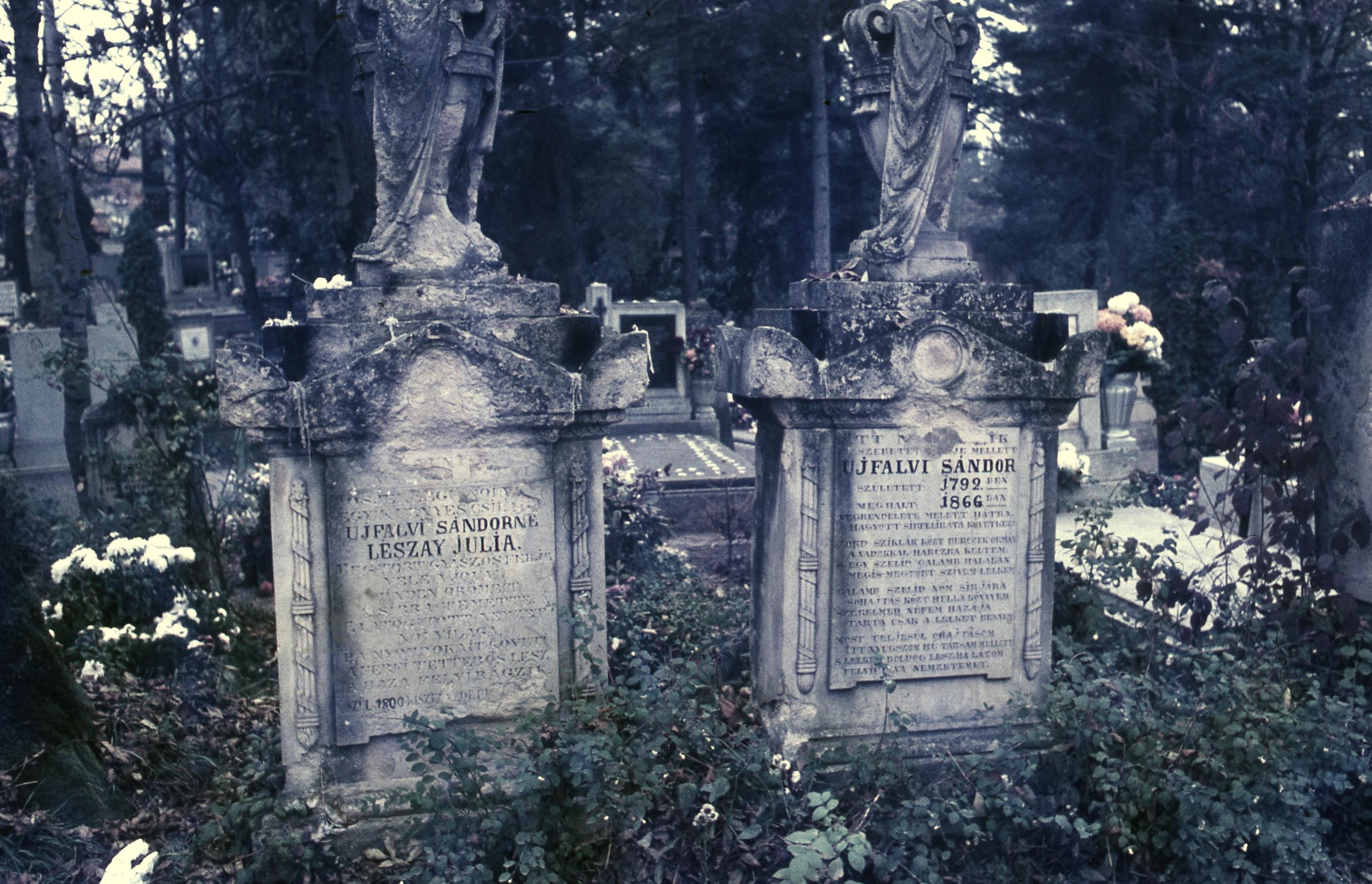 fb7167b6dabc Újfalvi Sándor vadász, az első magyar vadászkönyv szerzőjének sírja.  Fortepan 31839.jpg