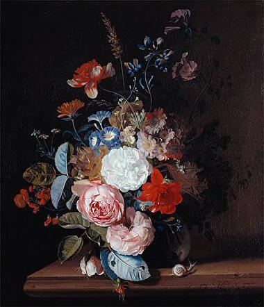 Flower still-life in a glass vase on a stone ledge