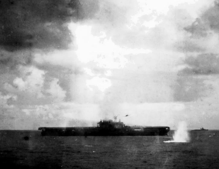 Japanese Nakajima B5N drops torpedo on USS Hornet (CV-8) on 26 October 1942.jpg