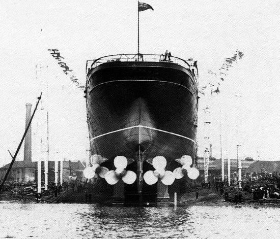 Lusitania, before her launch.