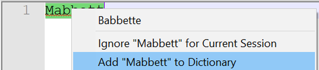 Notepad++ spell-checker, not recognising the word 'Mabbett'