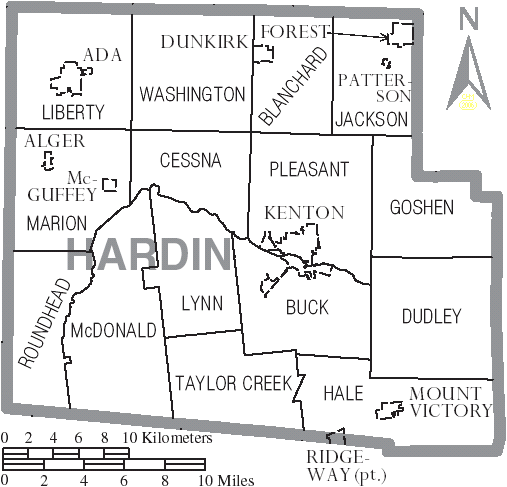 FileMap of Hardin County Ohio With Municipal and Township Labels