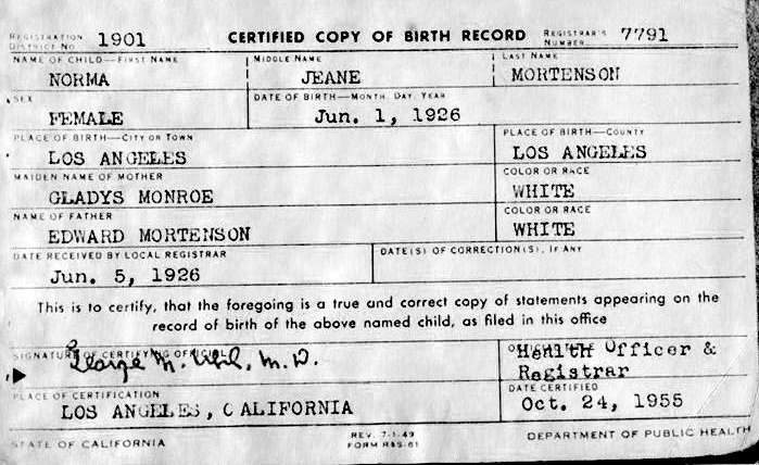 Marilyn Monroe's birth certificate