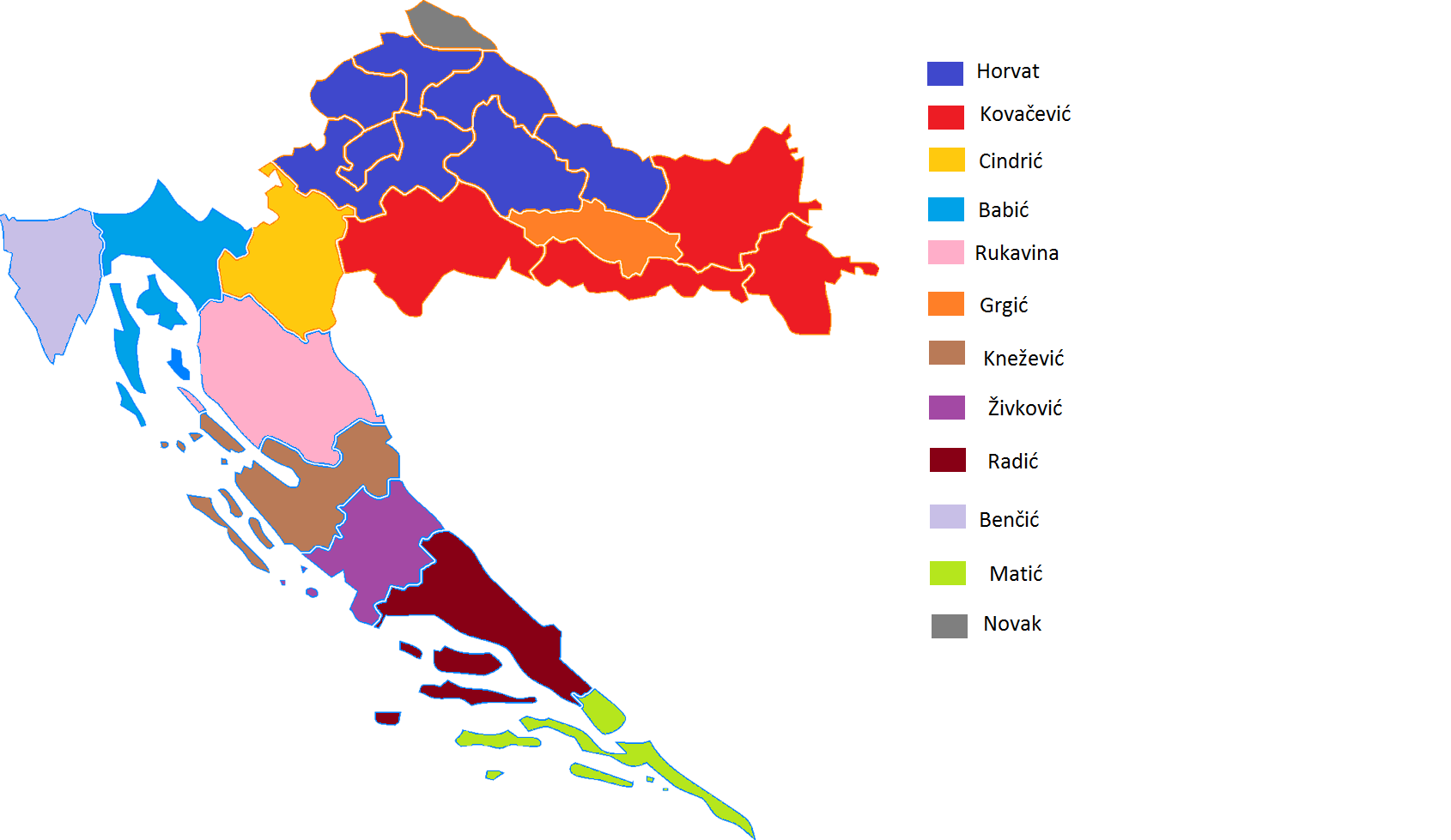 Ethnic background of last names - The Most Frequent Croatian Family Names By County