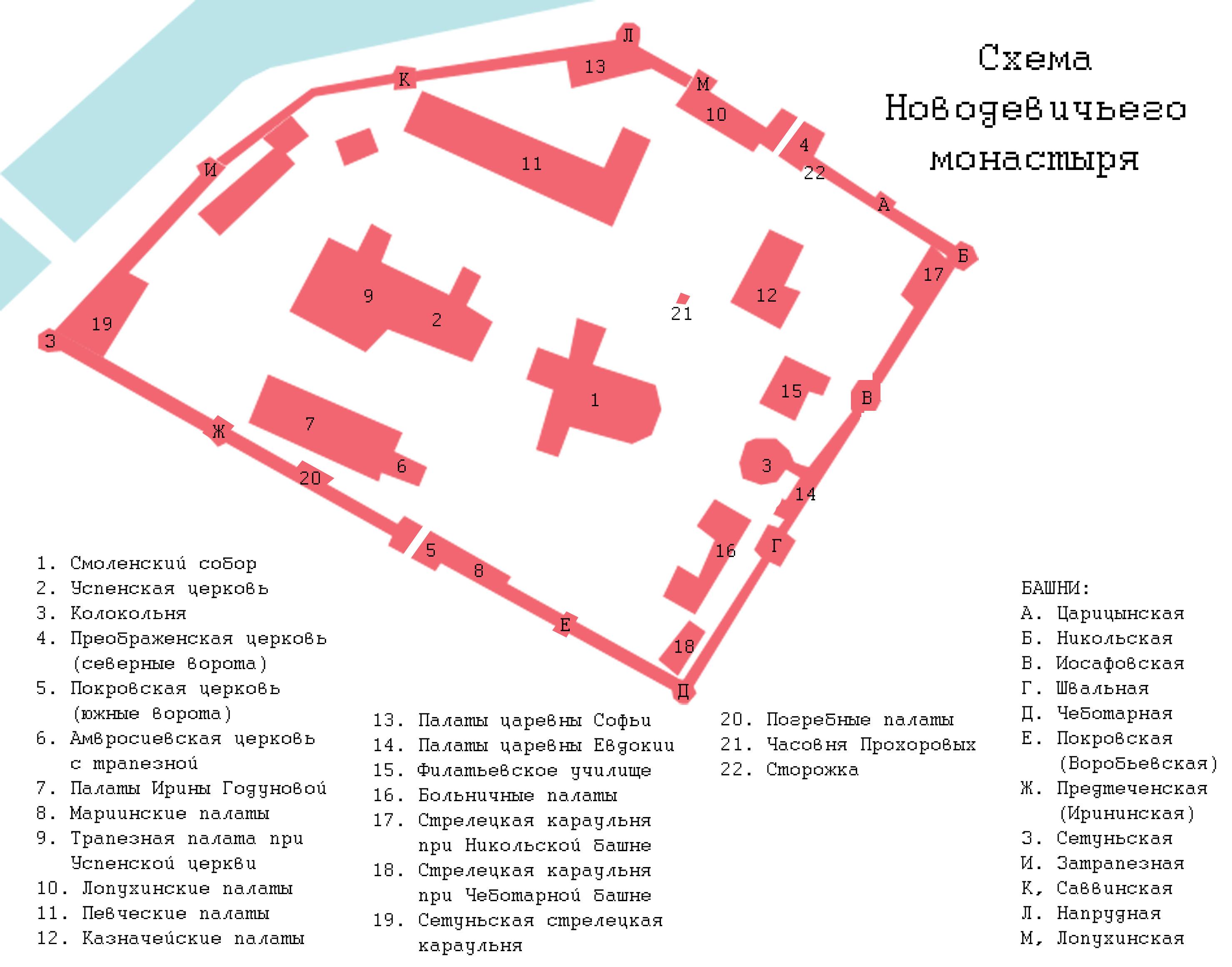 Novodevichy monastery - scheme (by shakko).jpg