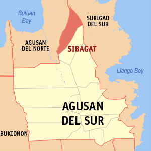 Map of Agusan del Sur showing the location of Sibagat