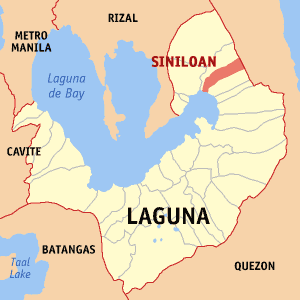 Map of Laguna showing the location of Siniloan