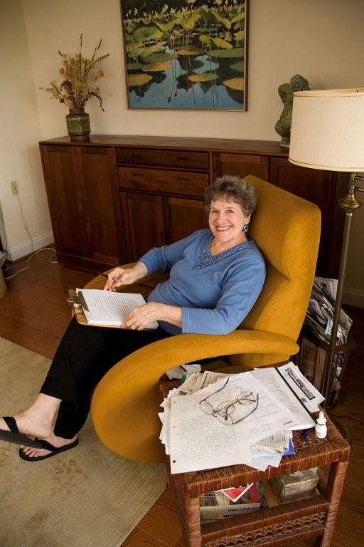 Naylor in the chair where she writes the first two drafts of every book by hand