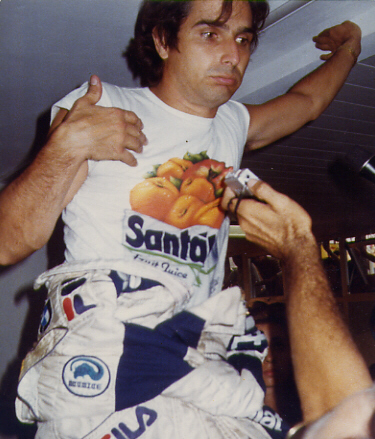Nelson Piquet, former triple world champion, finished the season ranked third for Benetton. Piquet a Monza 1983.JPG