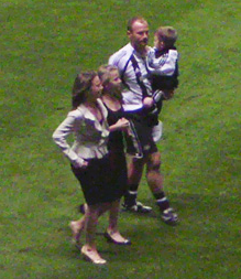 Shearer and family at his Testimonial match