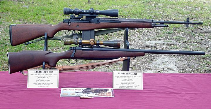 Vietnam war era sniper rifles us army xm21 top and usmc m40 bottom