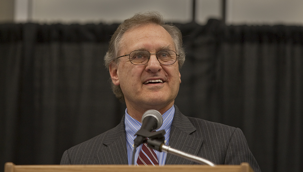 Stephen Lewis at a public speaking engagement