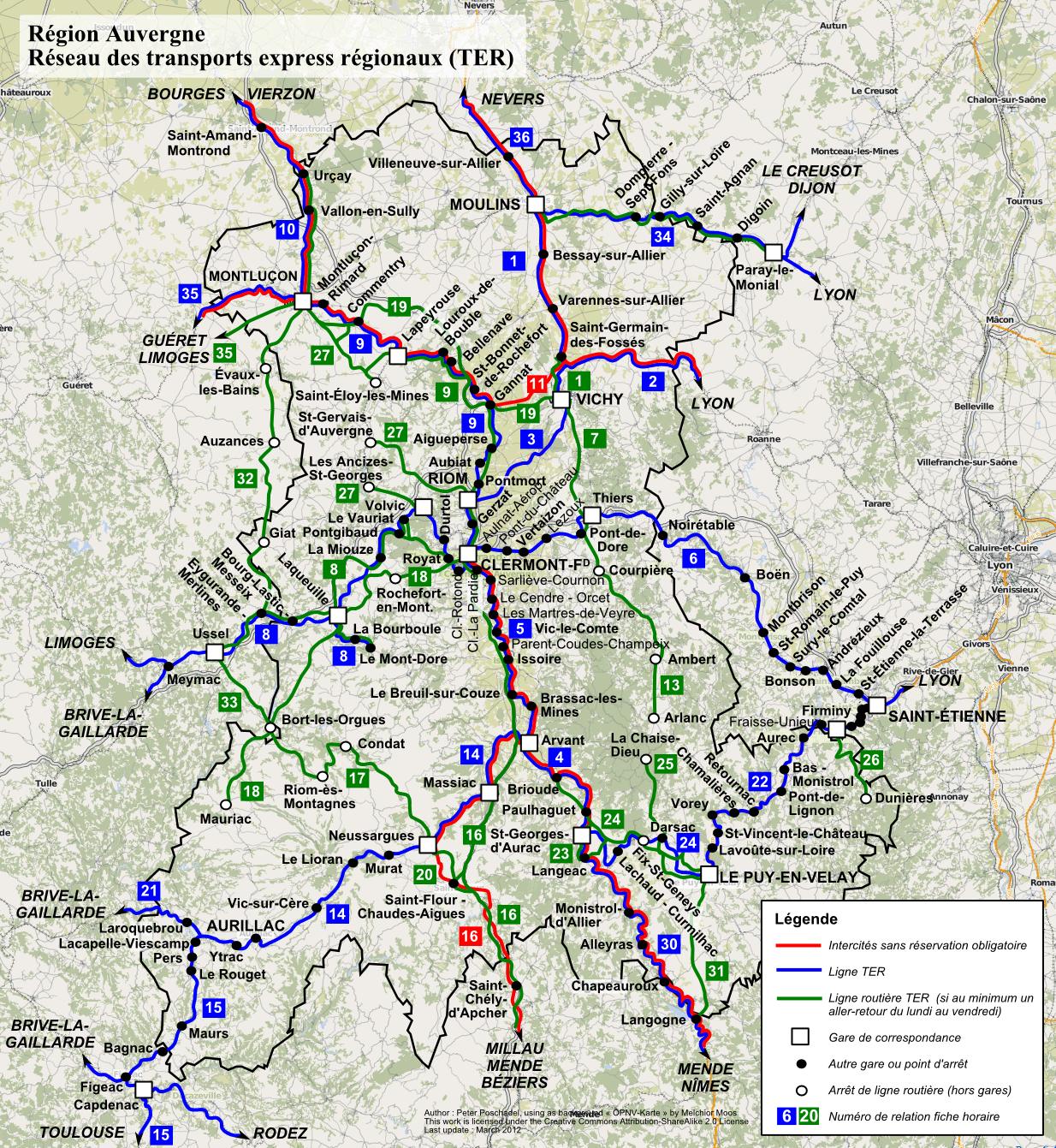 В Le Puy-en-Velay на поезде: Схема региональных поездов TER в регионе Овернь